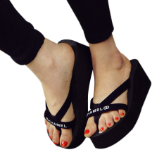 Hot Jual Fashion Gaya Wanita Colorful Summer Anti-Skid Flip Flops-Hitam