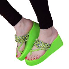 Hot Jual Fashion Women Summer Floral Anti-Skid Flip Flops-Hijau