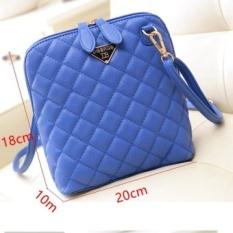 Jual Hot! Wanita Fashion Kulit Kecil Kotak-kotak Tas/WomenMessenger Tas (Biru)-Intl