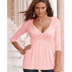 Hot Spring dan Musim Gugur Baru Wanita V-neck Lengan Panjang Bagian Bawah T-shirt-nya-Intl