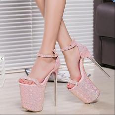 Beli Musim Panas 20 Cm S*xy Tipis Heels Wanita Sandal High Heels Wanita Sepatu Ukuran 34 43 Pink Terbaru