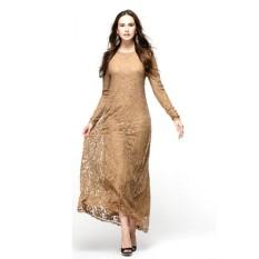 Hot Vintage Women Wear Lace Long Sleeve Maxi Dress Kaftan Abaya Islamic Muslim (Pink)
