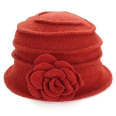 Panas Wanita 100% Wol Bunga Merasa Topi Bundar Musim Dingin Gaun untuk Pergi  Ke Gereja acb219379f