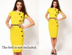 Promo Hot Wanita Rok Eropa Dan Amerika Tombol Dan Lutut Dress Intl Murah