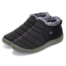 Perempuan HOT Musim Dingin Hangat Kain Fur-lined SLIP ON Ankle Snow Boots Sneakers Sepatu Hitam