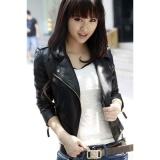 Harga Hemat Hots Wanita Jaket Kulit Motor Pu V Neck Lengan Panjang Coatsautumn Slim Zipper Pakaian Luar Biasa Hitam Intl