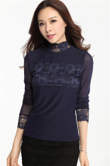 Beli Hotyv Elegan Panjang Lengan Sulaman Lace Mesh Patchwork Kaus Kerah Panjang Hts012 Biru Seken