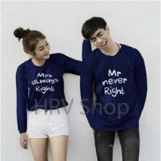 HRV Shop Baju Couple Pasangan Lover - Navy / Baju Pasangan / Sweater Kembar / Couple Sweater / Kaos Pasangan / Kaos Couple/ Kaos Kembar/ T-shirt Couple / Kaos Pria Wanita / Baju Sepasang / Sweater Pasangan