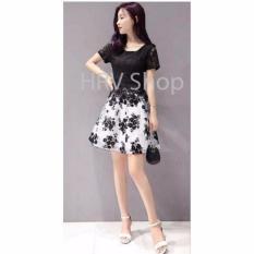 HRV Shop Dress Wanita Flower - Hitam / Dress Pesta / Dress Korea / Dress Wanita / Rok Wanita / Dress Bodycon / Dress Midi / Dress Kasual / Gaun Pesta