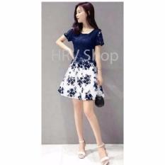 HRV Shop Dress Wanita Flower - Navy / Dress Pesta / Dress Korea / Dress Wanita / Rok Wanita / Dress