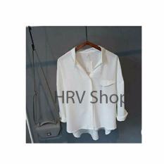HRV Shop Kemeja Wanita Emma - Putih / Atasan Muslimah / Kemeja Kerja Wanita / Baju Muslim Wanita / Kemeja Casual Wanita / Atasan Wanita / Tunik Murah / Kemeja Formal Wanita / Kemeja Muslimah