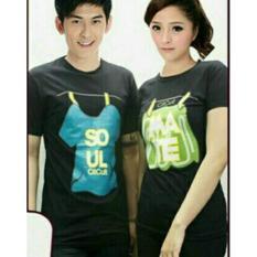 H~Shico  T-Shirt  Kaos Pasangan  Baju Pasangan  Kaos Couple SOUL MATE JEMUR Hitam