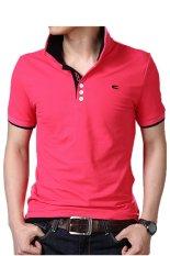 Huaway Men'S Fashion Bordir C Lengan Pendek Polo Shirt (Merah)
