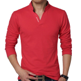Harga Huaway Fashion Pria Lengan Panjang Kasual Warna Solid Surat Kaos Polo Merah International Asli