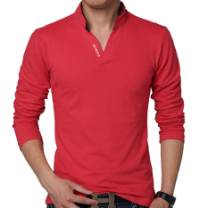 Jual Huaway Fashion Pria Lengan Panjang Kasual Warna Solid Surat Kaos Polo Merah International Oem Ori
