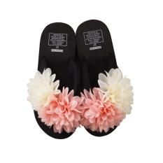 Huilongying Store Gaya Korea Cute Student Word Drag Wanita Musim Panas Flowersheavy-Bottomed Non-slip Muffin dengan Waterproof Taiwan Minimalistbeach Sandal dan Sandal-Intl