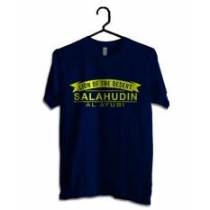 Hujjah Kaos Islam/ Muslim Pria dan Wanita – Salahudin – Biru Dongker – Sablon Kuning