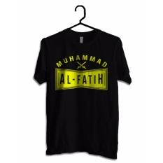 Hujjah Kaos Islam/Muslim Pria dan Wanita - Al Fatih - Kaos Hitam Sablon Kuning