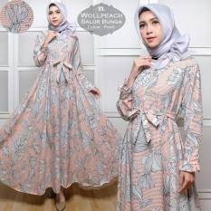Toko Humaira99 Gamis Syari Muslim Busui Motif Bunga Salur Peach Dki Jakarta