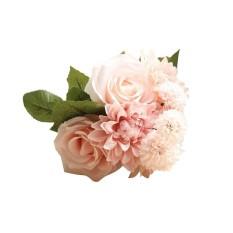Huohu Buatan Dihasilkan Bunga, Pawaca Mawar Buatan, Dahlia, melaleuca Hampir Alam Aksesoris untuk Pernikahan Dekorasi Rumah (8 Pcs)-Internasional