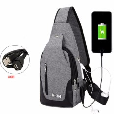 Jual Hushgecko Lightweight Casual Canvas Unbalance Backpack Sling Shoulder Bag Chest Bag With Usb Charging Port For Men Women Intl Branded Murah