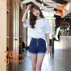 Jual Hyx Hot Sale Wanita Musim Panas Pinggang Tinggi Roll Up Hem Casual Denim Jeans Celana Pendek Internasional Not Specified Murah