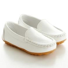 I02 Putih Model Sepatu Anak Laki-laki Panas Cewek Imut Kulit Sepatu Adalah Satu-satunya Satu Karet Datar Rivet Ukuran: 21-30