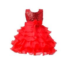 I082 Fashion Ulang Tahun Pesta Long Gaun Putri untuk Anak-anak 120cm-Red-Intl