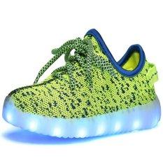 Spek I101 Gadis That Boy Sports Luar Room Lampu Led Di Atas Sepatu Kanvas Sepatu Kasual Atletik Merajut Hijau Sepatu Tiongkok