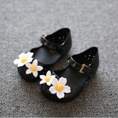 Spesifikasi I70 Gadis S Cute Lembut Jelly Sandal Putri Bunga Musim Panas Ankle Tali Velcro Anak Sepatu Warna Hitam Paling Bagus