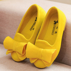 Jual I77 Fashion 1 Pair Cute Baby G*rl S Child Princess Toddler Kids Velvet Bow Flat Student Shoes Color Yellow Intl Murah
