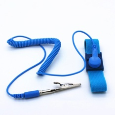 iBelieve Wired Wrist Strap Antistatic Wristband Discharge Cables For Electrician IC PLCC Worker Blue - intl