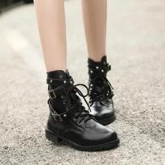 Ibelieve Women Black Lace Up Belts Round Toe Boots Punk Gothic Martin Sepatu Boot Pendek-Intl