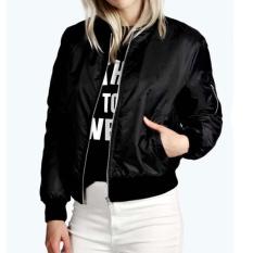 Ibelieve Womens Zip Up Biker Jaket Klasik Vintage Pembom Top Ladies Empuk Short Coat (Black)-Intl