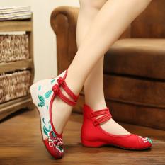Diskon Produk Ibukota Beijing Oldish Perempuan Sepatu Bordir Merah Sepatu Kain Merah