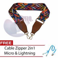 Icantiq Strap You Bag Kanvas / Long Strap Bag Import / Tali Panjang Tas / Tali Tas Talpan Aztec BIG Size 105cm Bisa Di Atur Panjang Pendek + Free Kabel Zipper Iphone dan Micro - Rainbow - Leather Brown