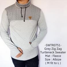 Idf Sweater Pria Model Keren Grey Zig Zag Turtleneck Sweater 751 Promo Beli 1 Gratis 1