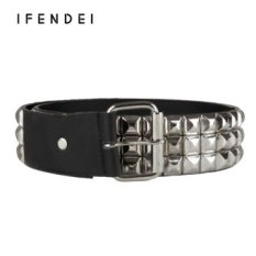IFENDEI Fashion Rivets Belt Women&Men Hot Luxury Designer Punk PU Leather Belts Unisex 5cm Width Hip Hop Strap Cintos Masculinos - intl