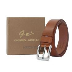 Ikat Pinggang  Giorgio Agnelli Belt Original - Ikat Pinggang Kulit Fashion Pria Kulit Asli - GA-777 Coklat Tua