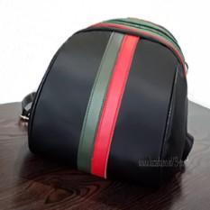 Import Backpack Women/Tas Punggung Import/Tas Ransel Import/Import Ransel Travelling / Tas Sekolah /Ransel Sekolah/ Tas Kuliah ( 3P Small Leather BackPack Strip 2 ) - Black