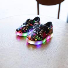 Kualitas Import Sepatu Sneaker Lampu Led Ukir Untuk Anak Hitam Imported From China