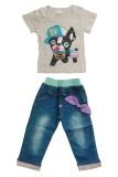Review Terbaik Import Setelan Kaos Black Puppy Celana Jeans Pita Anak Perempuan