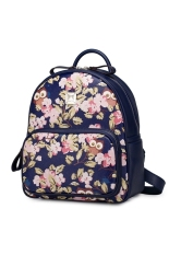 Review Imported Just Star Leather Backpack Owl Flower Print Colorful Blue Terbaru