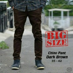 Impresif Celana Pria Chino BIG SIZE Coklat Tua - Dark Brown - Chinopants Jumbo - Melar - Slimfit - Katun