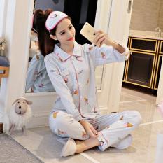 Imut Katun Perempuan Lengan Panjang Olahraga Musim Gugur Katun Baju Tidur (Biru Es Krim Set)