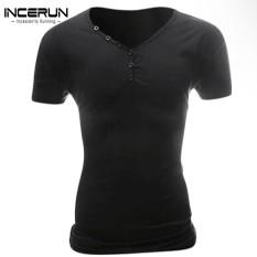 Toko Incerun Mens Summer Slim Fit V Neck Short Sleeve T Shirt Plain Tee Tops Dark Grey Intl Termurah