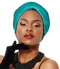 India Style Spring Cap Velvet Scarf dan Elastic Hair Hat Blue-Intl