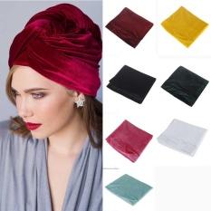 India Style Spring Cap Velvet Scarf dan Elastic Hair Hat Pink-Intl