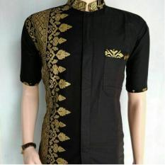 Jual Indonesia Heritage Baju Kondangan Seragam Kemeja Koko Pria Eksklusif Motif Jarum Emas Antik