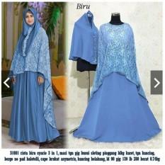 IndonesiaHeritage Gamis Syari Pesta Premium Mewah 3 in 1 (Real Pic) + Cape Brukat Asymetris menjuntai ke belakang + Hijab Bergo - Busui Pesta Kondangan Muslimah - Fashion Busana Muslim Wanita ihristabrukat